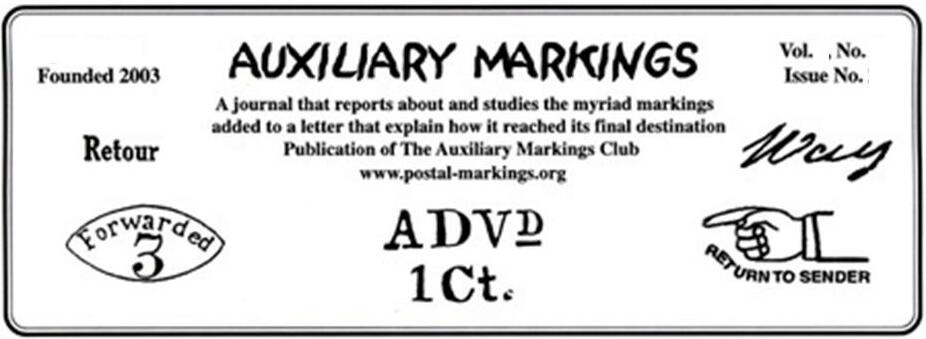 Auxiliary Markings Newsletter Masthead