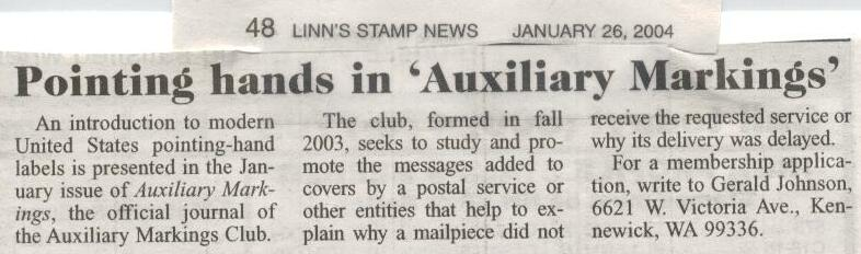 Auxiliary Markings journal news item