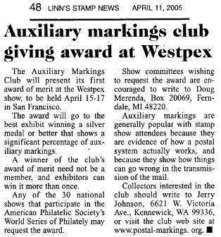 Auxiliary Markings Club Westpex Award